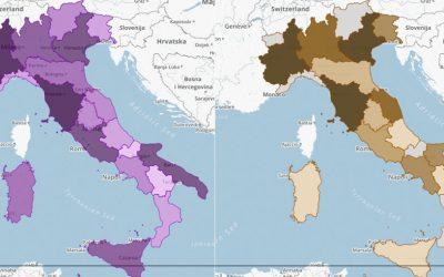 La mappa delle cantine e dei vini D.O.C e D.O.C.G in Italia