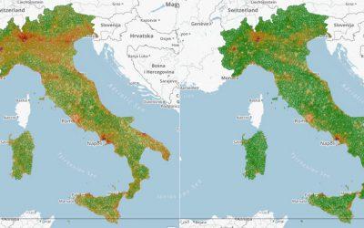 Consumo del suolo VS densità popolazione