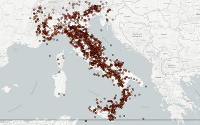 La mappa dei terremoti italiani dall'anno 1000 ad oggi