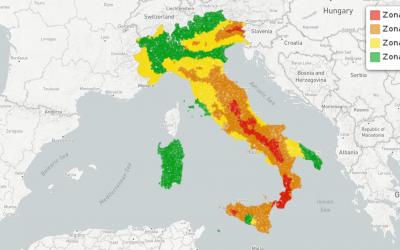 Le zone sismiche nei comuni italiani